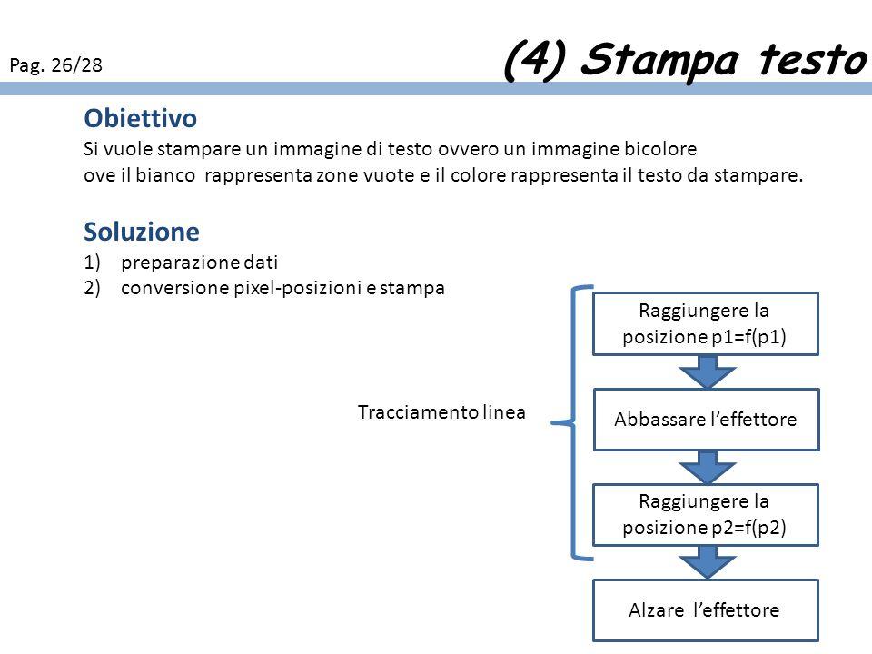 (4) Stampa testo Pag. 26/28 Obiettivo Si vuole stampare un immagine di testo ovvero un immagine bicolore ove il bianco rappresenta zone vuote e il col