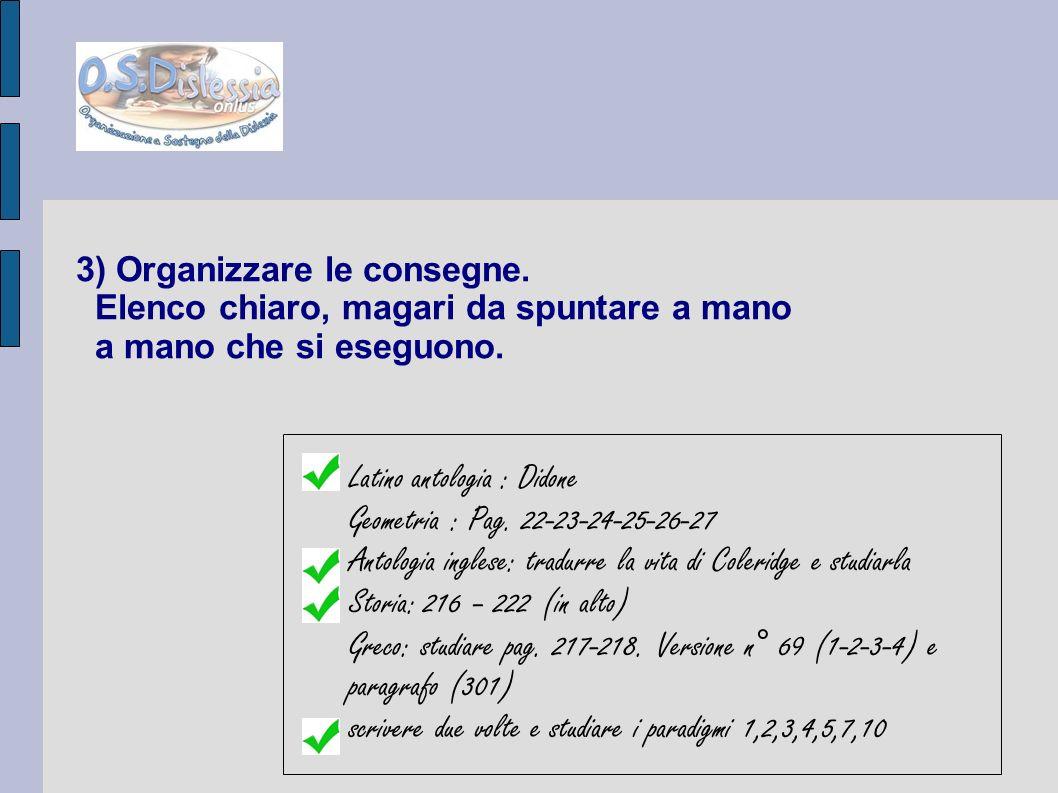 3) Organizzare le consegne. Elenco chiaro, magari da spuntare a mano a mano che si eseguono. Latino antologia : Didone Geometria : Pag. 22-23-24-25-26