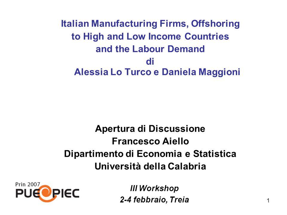 1 Italian Manufacturing Firms, Offshoring to High and Low Income Countries and the Labour Demand di Alessia Lo Turco e Daniela Maggioni Apertura di Di