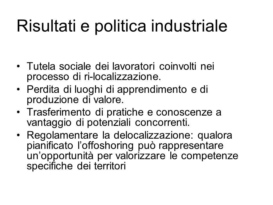 Risultati e politica industriale Tutela sociale dei lavoratori coinvolti nei processo di ri-localizzazione. Perdita di luoghi di apprendimento e di pr