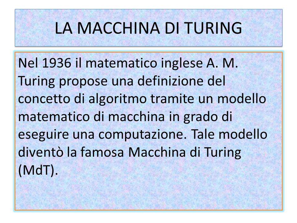 Le componenti della macchina La macchina di Turing è costituita da: Un nastro; Una testina di lettura/scrittura; Ununità di memoria interna; Ununità di calcolo; Ununità logica;