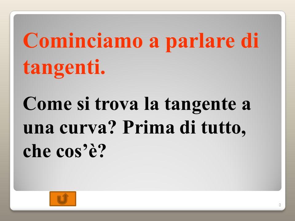 2 Cominciamo a parlare di tangenti.Come si trova la tangente a una curva.