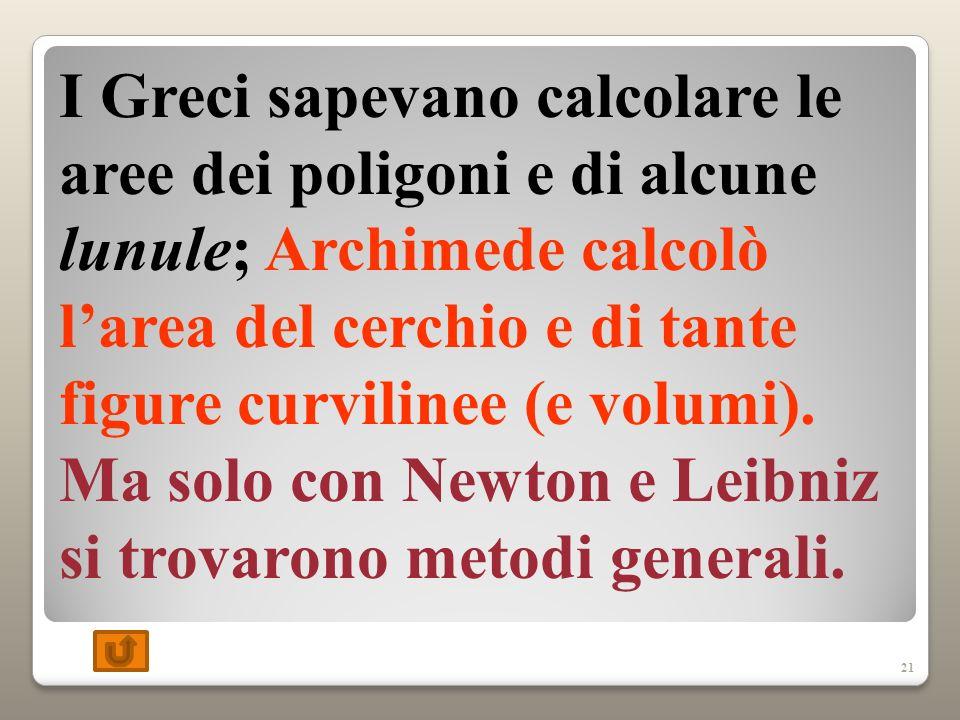 21 I Greci sapevano calcolare le aree dei poligoni e di alcune lunule; Archimede calcolò larea del cerchio e di tante figure curvilinee (e volumi).