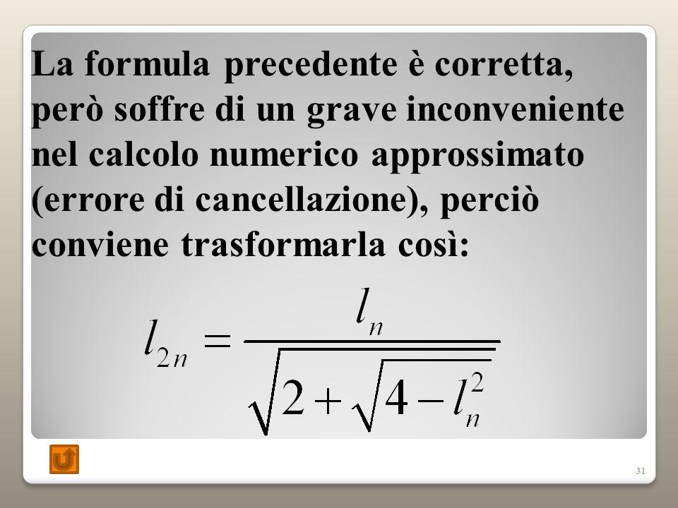 31 La formula precedente è corretta, però soffre di un grave inconveniente nel calcolo numerico approssimato (errore di cancellazione), perciò conviene trasformarla così: