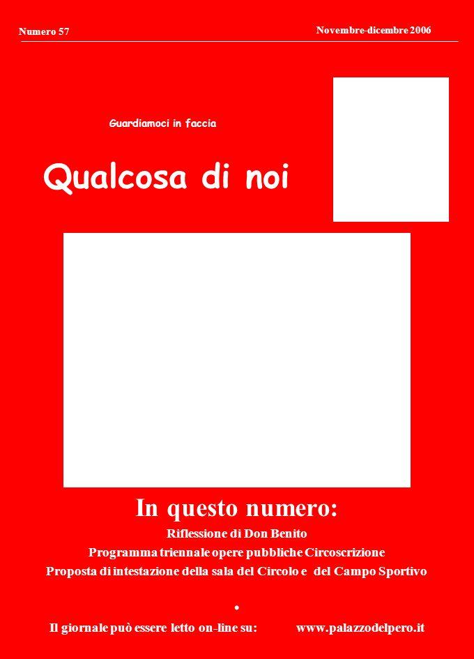 Qualcosa di noi Guardiamoci in faccia Numero 57 Novembre-dicembre 2006 In questo numero: Riflessione di Don Benito Programma triennale opere pubbliche Circoscrizione Proposta di intestazione della sala del Circolo e del Campo Sportivo.