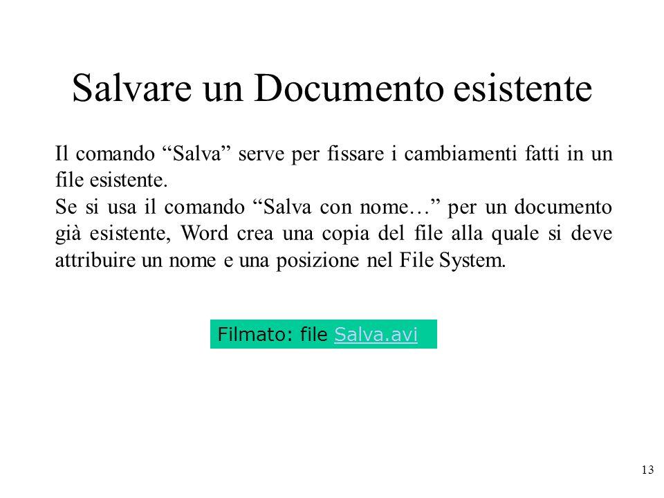 13 Salvare un Documento esistente Filmato: file Salva.avi Il comando Salva serve per fissare i cambiamenti fatti in un file esistente.