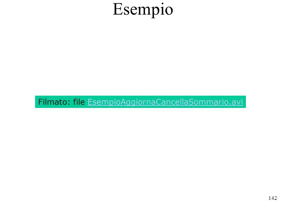 142 Esempio Filmato: file EsempioAggiornaCancellaSommario.avi