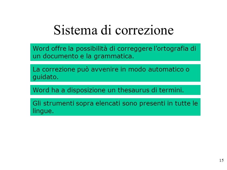 15 Sistema di correzione Word offre la possibilità di correggere lortografia di un documento e la grammatica.