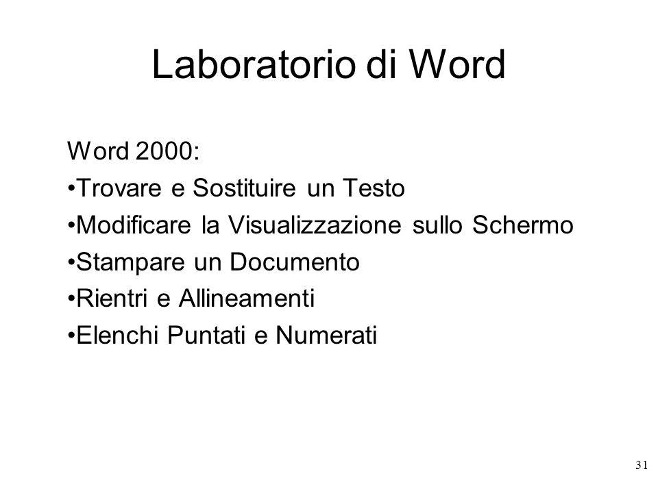 31 Laboratorio di Word Word 2000: Trovare e Sostituire un Testo Modificare la Visualizzazione sullo Schermo Stampare un Documento Rientri e Allineamenti Elenchi Puntati e Numerati