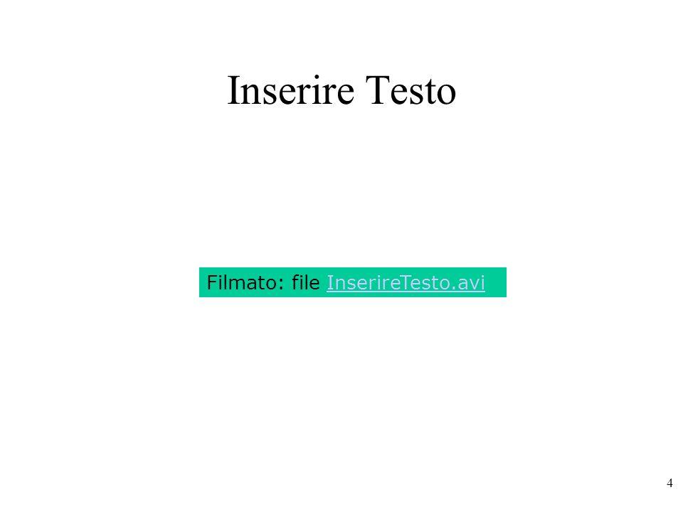 25 Formattazione di Testo lista del tipo di carattere tra quelli installati dimensione in punti (= 1/72 di pollice) scelta colore e sottolineatura.