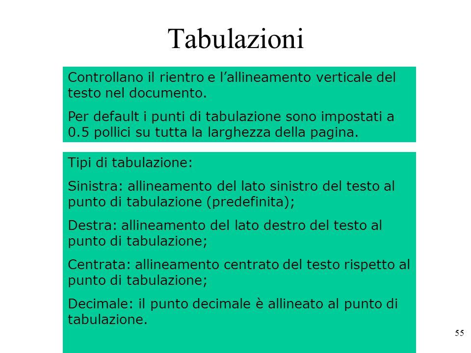 55 Tabulazioni Controllano il rientro e lallineamento verticale del testo nel documento.
