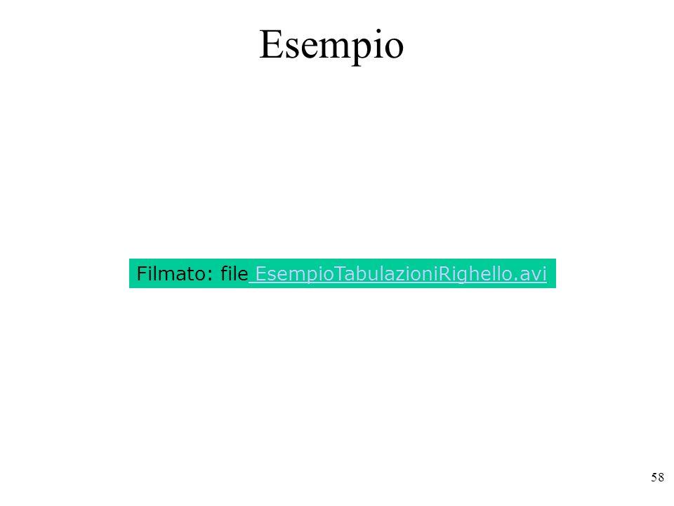 58 Esempio Filmato: file EsempioTabulazioniRighello.avi