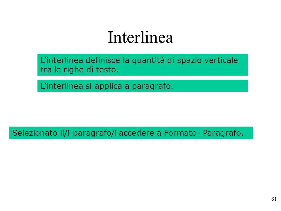 61 Interlinea Linterlinea definisce la quantità di spazio verticale tra le righe di testo.