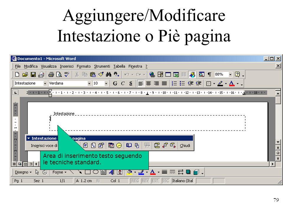 79 Il testo del documento appare in grigio e appare la barra degli strumenti Intestazione e piè di pagina.