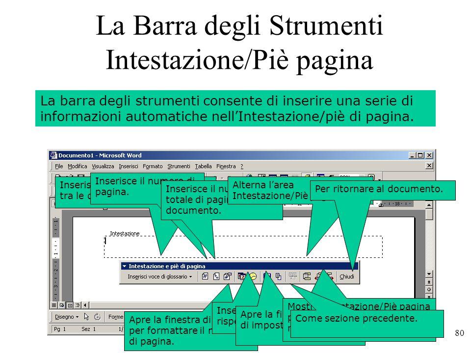 80 La Barra degli Strumenti Intestazione/Piè pagina La barra degli strumenti consente di inserire una serie di informazioni automatiche nellIntestazione/piè di pagina.