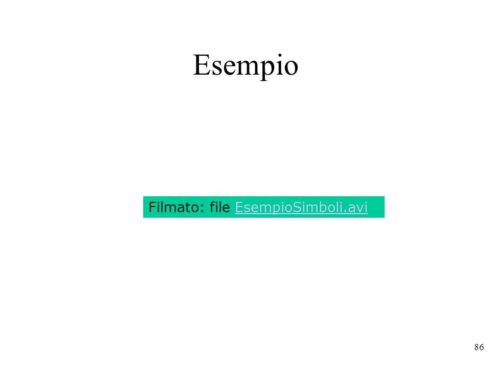 86 Esempio Filmato: file EsempioSimboli.avi
