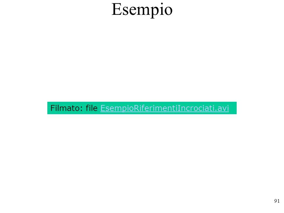 91 Esempio Filmato: file EsempioRiferimentiIncrociati.avi