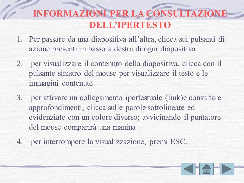 INFORMAZIONI PER LA CONSULTAZIONE DELLIPERTESTO 1.Per passare da una diapositiva allaltra, clicca sui pulsanti di azione presenti in basso a destra di ogni diapositiva 2.