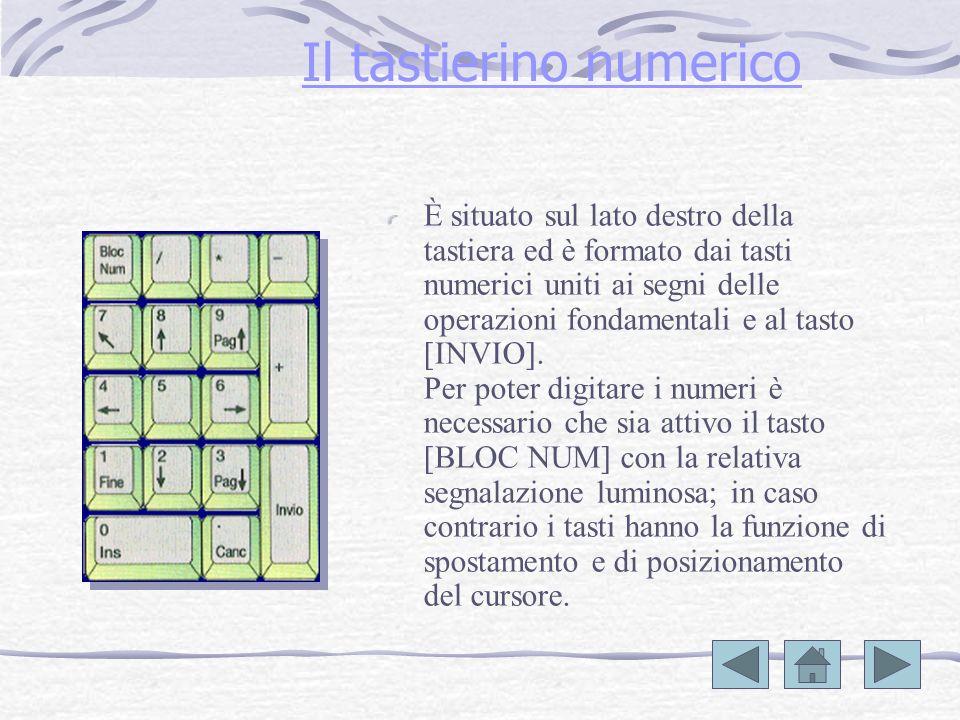 Il tastierino numerico È situato sul lato destro della tastiera ed è formato dai tasti numerici uniti ai segni delle operazioni fondamentali e al tasto [INVIO].