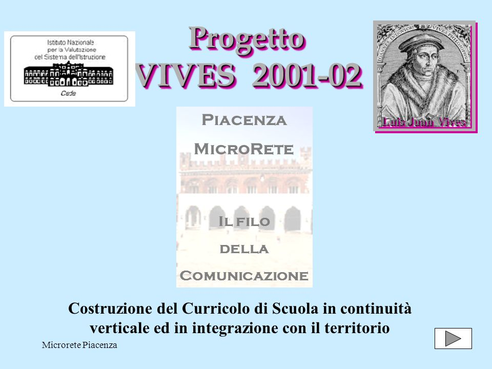 Microrete Piacenza1 Progetto VIVES 2001-02 Luis Juan Vives Piacenza MicroRete Il filo della Comunicazione Costruzione del Curricolo di Scuola in continuità verticale ed in integrazione con il territorio