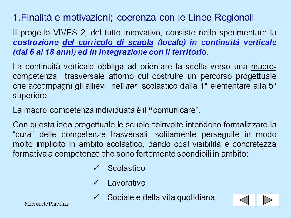 Microrete Piacenza2 1.Finalità e motivazioni; coerenza con le Linee Regionali Il progetto VIVES 2, del tutto innovativo, consiste nello sperimentare la costruzione del curricolo di scuola (locale) in continuità verticale (dai 6 ai 18 anni) ed in integrazione con il territorio.