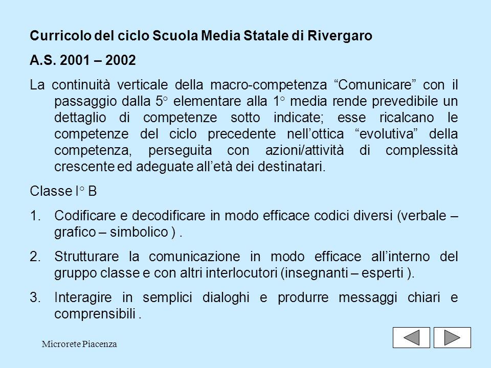 Microrete Piacenza23 Curricolo del ciclo Scuola Media Statale di Rivergaro A.S.