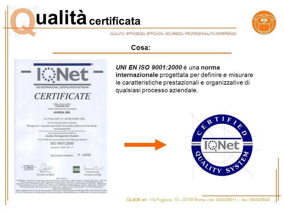 certificata ualità GLAUX srl - Via Fogliano, 10 – 00199 Roma – tel. 0645438011 – fax. 0645438046 QUALITA EFFICIENZA EFFICACIA SICUREZZA PROFESSIONALIT