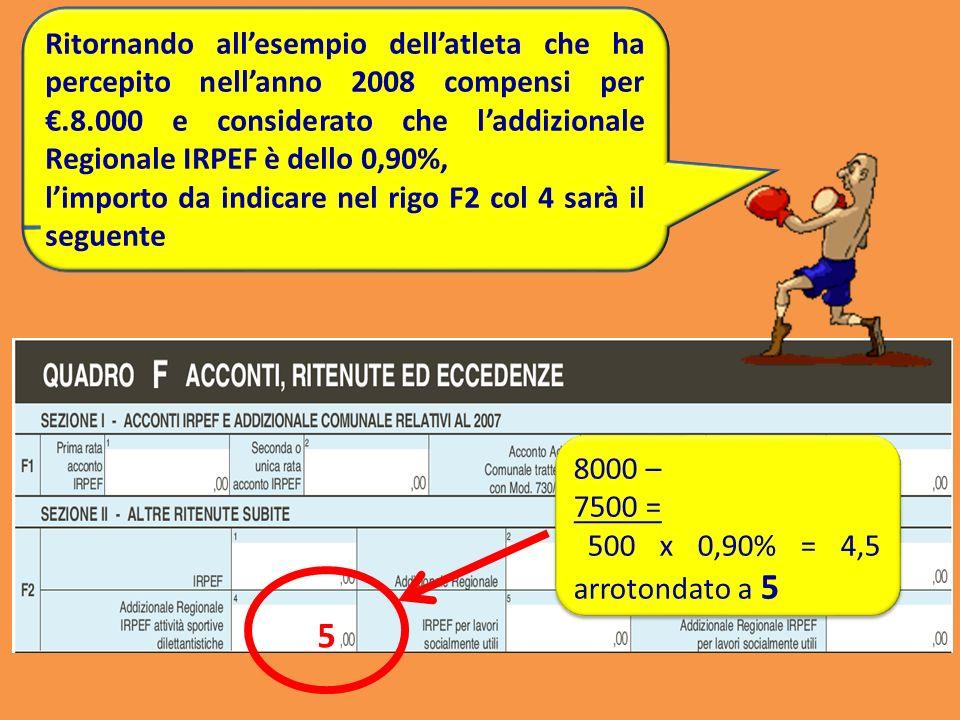 5 Ritornando allesempio dellatleta che ha percepito nellanno 2008 compensi per.8.000 e considerato che laddizionale Regionale IRPEF è dello 0,90%, lim