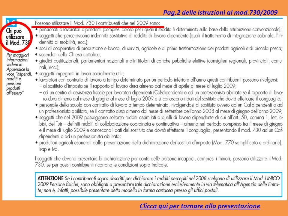 Clicca qui per tornare alla presentazione Pag.2 delle istruzioni al mod.730/2009