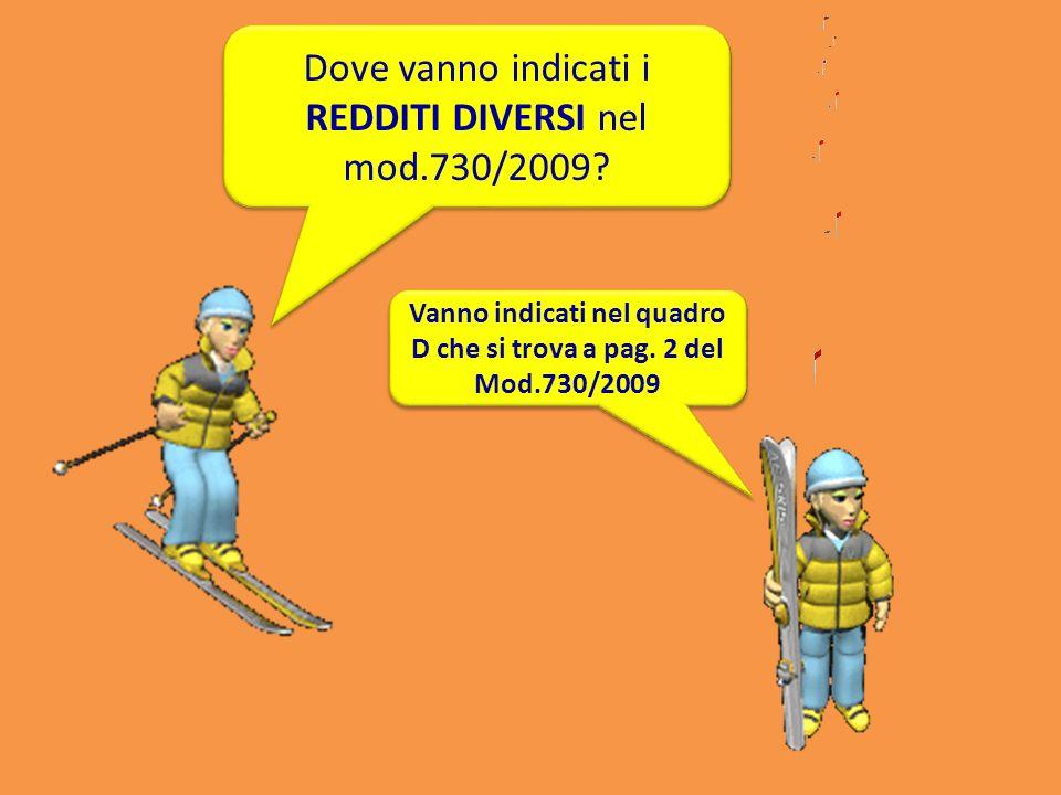 Dove vanno indicati i REDDITI DIVERSI nel mod.730/2009? Vanno indicati nel quadro D che si trova a pag. 2 del Mod.730/2009