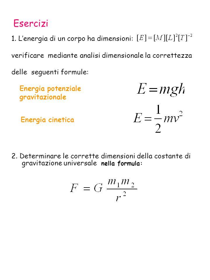 Energia potenziale gravitazionale Energia cinetica Esercizi 1. Lenergia di un corpo ha dimensioni: verificare mediante analisi dimensionale la corrett