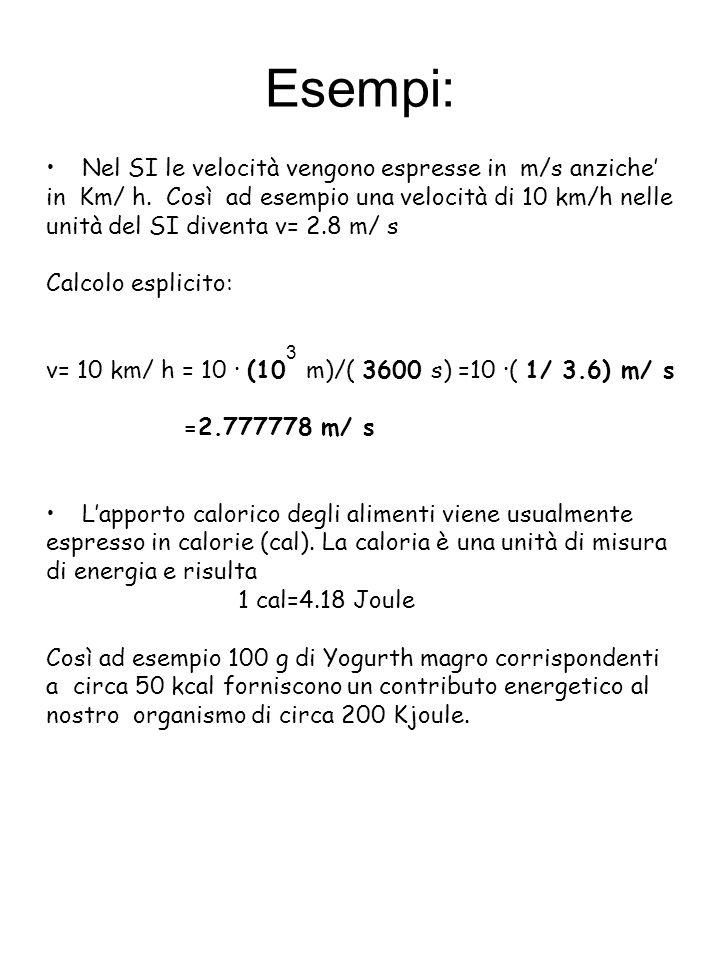Esempi: Nel SI le velocità vengono espresse in m/s anziche in Km/ h. Così ad esempio una velocità di 10 km/h nelle unità del SI diventa v= 2.8 m/ s Ca