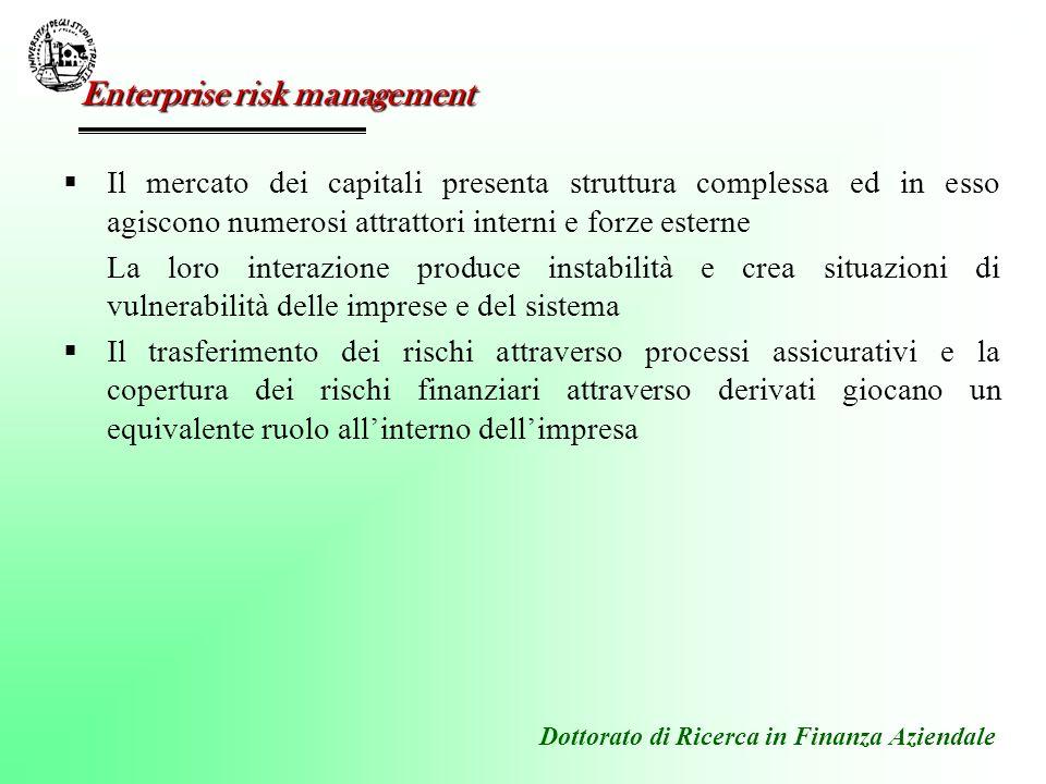 Dottorato di Ricerca in Finanza Aziendale Il mercato dei capitali presenta struttura complessa ed in esso agiscono numerosi attrattori interni e forze