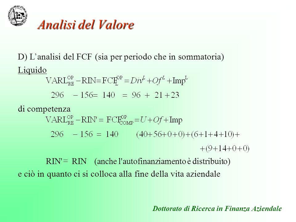 Dottorato di Ricerca in Finanza Aziendale D) Lanalisi del FCF (sia per periodo che in sommatoria) Liquido di competenza e ciò in quanto ci si colloca