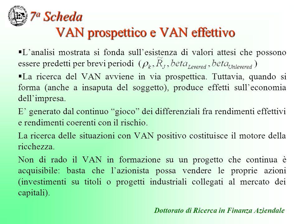 Lanalisi mostrata si fonda sullesistenza di valori attesi che possono essere predetti per brevi periodi La ricerca del VAN avviene in via prospettica.