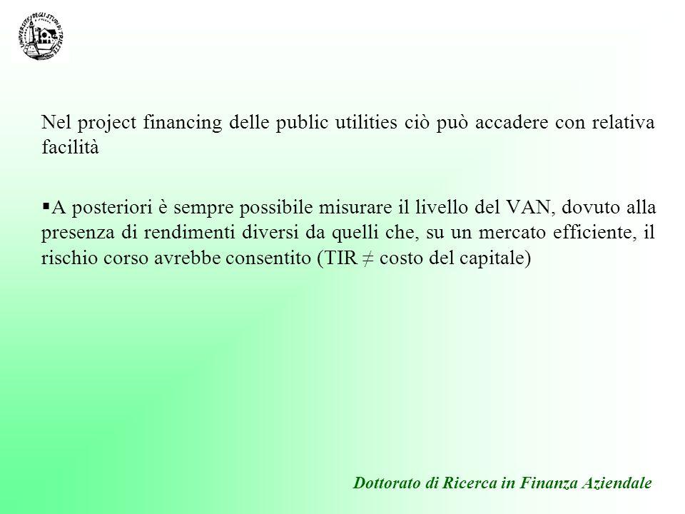 Nel project financing delle public utilities ciò può accadere con relativa facilità A posteriori è sempre possibile misurare il livello del VAN, dovut