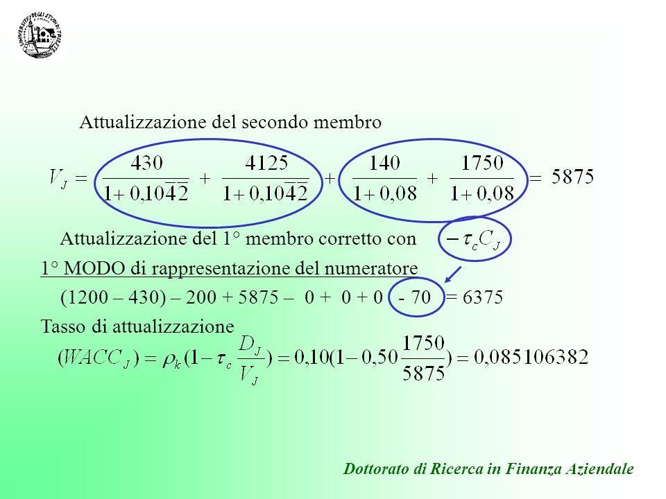 Dottorato di Ricerca in Finanza Aziendale 2° MODO di rappresentazione del numeratore Tasso di attualizzazione 6375 Tasso di attualizzazione (WACC J ) come sopra
