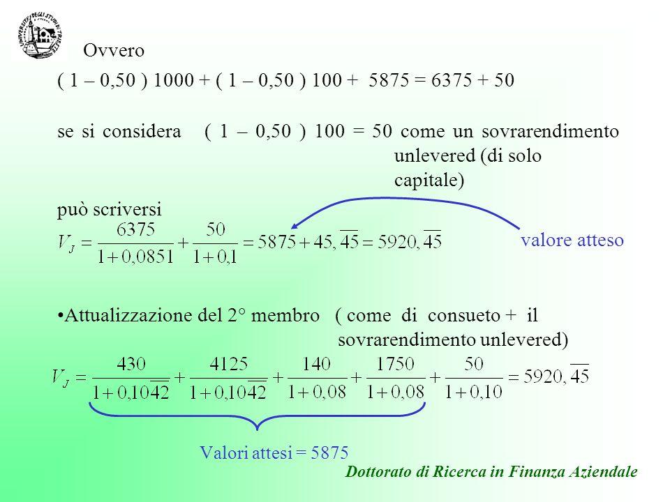( contabilità dei valori attesi ) 1° Periodo [( 1600 – 400) – 430 ] – 5200 – 0 + 3250 + 1750 = 430 + 0 + 140 + 0 2° Periodo [( 1600 – 400) – 430 ] – 200 – 0 + 0 + 0 = 430 + 0 + 140 + 0 3° Periodo [( 1600 – 400) – 430 ] –200+5875+0+0 = 430 + 4125 + 140 + 1750 Dottorato di Ricerca in Finanza Aziendale La formula del valore nellesempio condotto su tre esercizi