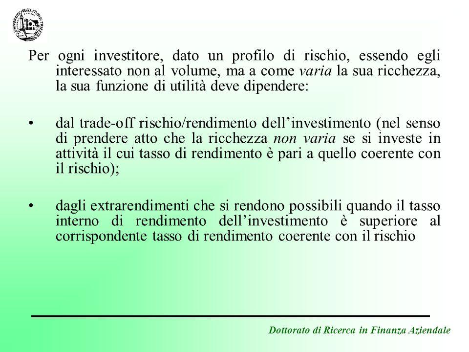 Dottorato di Ricerca in Finanza Aziendale Per ogni investitore, dato un profilo di rischio, essendo egli interessato non al volume, ma a come varia la