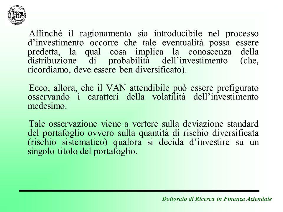 Dottorato di Ricerca in Finanza Aziendale Affinché il ragionamento sia introducibile nel processo dinvestimento occorre che tale eventualità possa ess