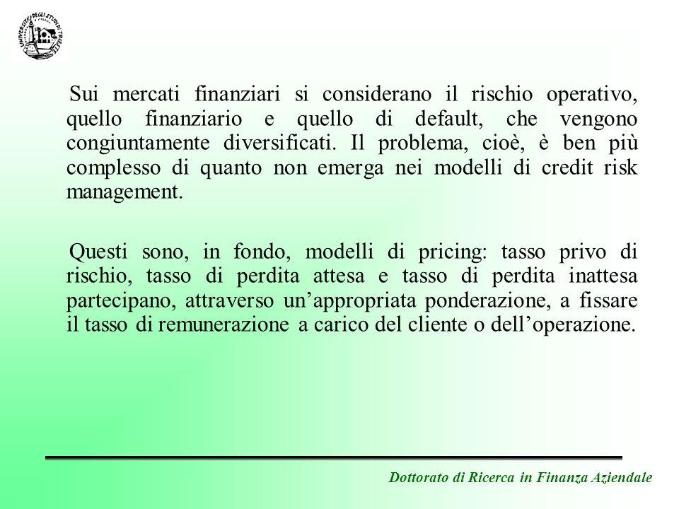 Dottorato di Ricerca in Finanza Aziendale Sui mercati finanziari si considerano il rischio operativo, quello finanziario e quello di default, che veng