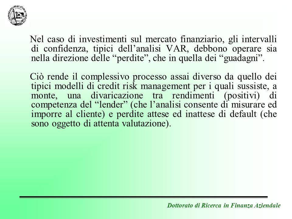 Dottorato di Ricerca in Finanza Aziendale Nel caso di investimenti sul mercato finanziario, gli intervalli di confidenza, tipici dellanalisi VAR, debb