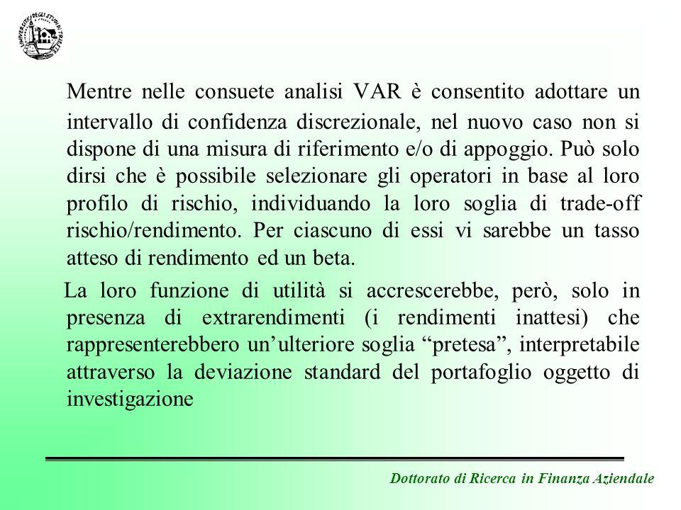Dottorato di Ricerca in Finanza Aziendale Mentre nelle consuete analisi VAR è consentito adottare un intervallo di confidenza discrezionale, nel nuovo