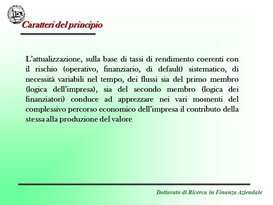 Dottorato di Ricerca in Finanza Aziendale Caratteri del principio Lattualizzazione, sulla base di tassi di rendimento coerenti con il rischio (operati