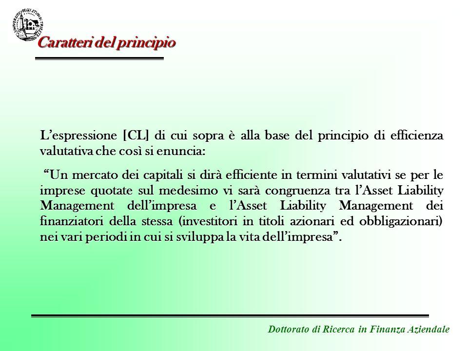 Dottorato di Ricerca in Finanza Aziendale Lespressione [CL] di cui sopra è alla base del principio di efficienza valutativa che così si enuncia: Un me