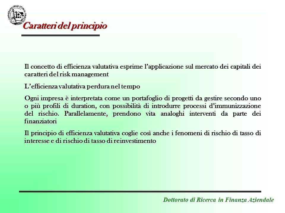 Dottorato di Ricerca in Finanza Aziendale Il concetto di efficienza valutativa esprime lapplicazione sul mercato dei capitali dei caratteri del risk m