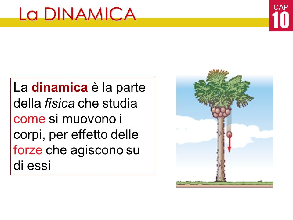 CAP La DINAMICA La dinamica è la parte della fisica che studia come si muovono i corpi, per effetto delle forze che agiscono su di essi