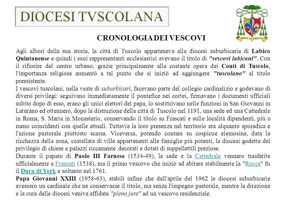 Secondo l Orioli, il 1089 è la data di inizio di permanenza nella diocesi Labicana.