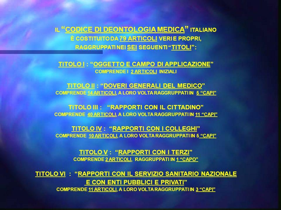 IL CODICE DI DEONTOLOGIA MEDICA ITALIANO È COSTITUITO DA 79 ARTICOLI VERI E PROPRI, RAGGRUPPATI NEI SEI SEGUENTI TITOLI: TITOLO I : OGGETTO E CAMPO DI APPLICAZIONE COMPRENDE I 2 ARTICOLI INIZIALI TITOLO II : DOVERI GENERALI DEL MEDICO COMPRENDE 14 ARTICOLI, A LORO VOLTA RAGGRUPPATI IN 5 CAPI TITOLO III : RAPPORTI CON IL CITTADINO COMPRENDE 40 ARTICOLI, A LORO VOLTA RAGGRUPPATI IN 11 CAPI TITOLO IV : RAPPORTI CON I COLLEGHI COMPRENDE 10 ARTICOLI, A LORO VOLTA RAGGRUPPATI IN 5 CAPI TITOLO V : RAPPORTI CON I TERZI COMPRENDE 2 ARTICOLI, RAGGRUPPATI IN 1 CAPO TITOLO VI : RAPPORTI CON IL SERVIZIO SANITARIO NAZIONALE E CON ENTI PUBBLICI E PRIVATI COMPRENDE 11 ARTICOLI, A LORO VOLTA RAGGRUPPATI IN 3 CAPI