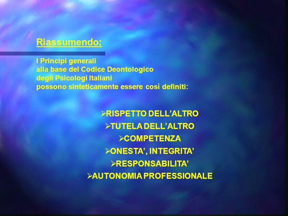 Riassumendo: I Principi generali alla base del Codice Deontologico degli Psicologi Italiani possono sinteticamente essere così definiti: RISPETTO DELLALTRO TUTELA DELLALTRO COMPETENZA ONESTA, INTEGRITA RESPONSABILITA AUTONOMIA PROFESSIONALE